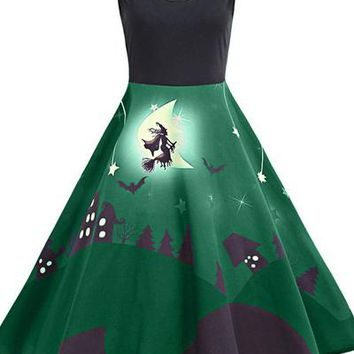 B| Chicloth Halloween Bat Castle Vintage A Line Dress