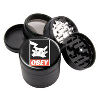 "Pokemon Obey #2 - 2.25"" Premium Black Herb Grinder - Custom Designed"
