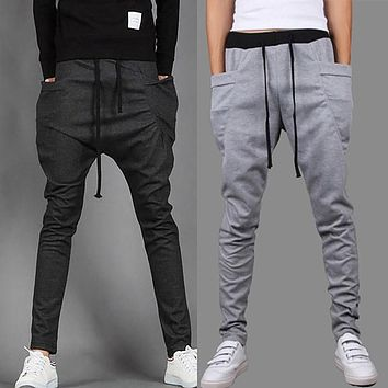 Fashion Baggy Tapered Bandana Pants Hip Hop Dance Drop Crotch Harem Sweatpants Men Parkour Track Trousers Joggers