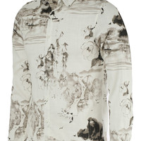 Turn-Down Collar Landscape Paniting Print Long Sleeve Shirt