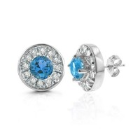 2.00 Carat tw Blue Topaz & White Sapphire Earrings in Sterling Silver