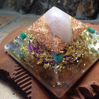Orgonite Pyramid with Rose Quartz and Amazonite, crystal pyramid, sacred geometry, spiritual gifts