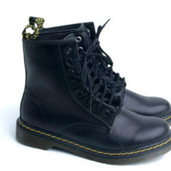 Womens Girls Black White Solid Military Combat Ankle Boots Shoes Ladies Korea