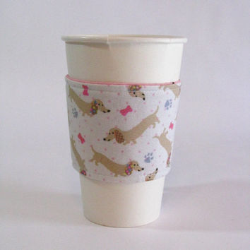 Pink Dachshund Reusable Reversible Coffee Cup Sleeve (Standard Size)