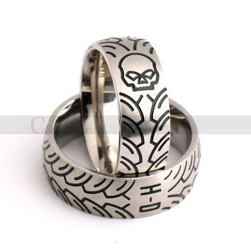 Skull Harley Davidson Biker Tires Style Ring For Man Motorcycle Skeleton Ring