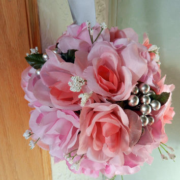 Pink Roses, Baby's breath and silver berries wedding kissing ball/ Pomander