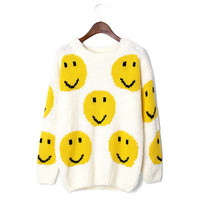 Chicwish: Smile Face Knit Sweater White, at 34% off!