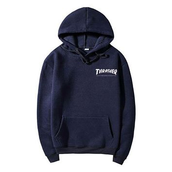 Men/Women sportswear Thrasher hoodie flame skateboard dead fly west hip-hop harajuku hooded fleece Thrasher THRASHER sweatshirt  Dark blue