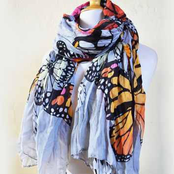 Womens BUTTERFLY Print patterned cotton scarf - women fashion accessories - mariposa
