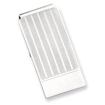 Rhodium Plated Etched Lines Hinged Money Clip