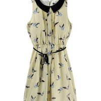 Polyester Light Yellow Sleeveless Lapel Bird Print Long Dress ( color) style 823dr0018 in  Indressme