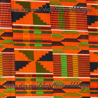 African Kente Cotton Fabric, Print, Sold By The Yard.