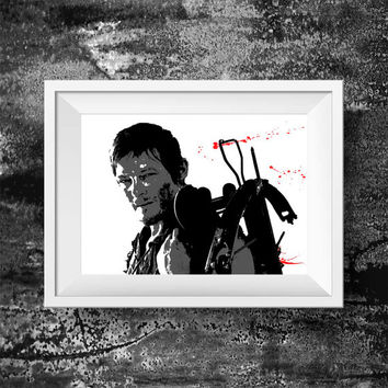 The Walking Dead Print - Daryl Dixon Print - Walking Dead Movie Wall art Decor Poster print