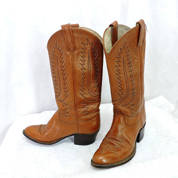 Vintage 80s Dan Post boots/ size USA 6.5 / cowboy roper boots / womens brown leather western boots / SunnyBohoVintage