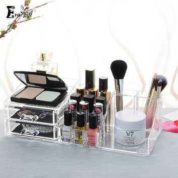 Crystal Cosmetic Organizer BOX with drawer Clear Makeup Jewelry Cosmetic Storage Display Box Acrylic Case Stand Rack Holder