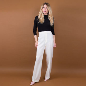 white high waisted trouser pants / polyester wide leg boot cut pants / Vintage 70's disco pants / minimalist tailored pants