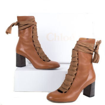Caramel Leather Lace Up Boots