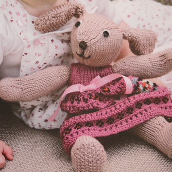 Girls bunny rabbit floppy toy knit rabbit toddlers PDF Instant Download stuffed animal pdf baby knitting supplies epsteam knitting pattern