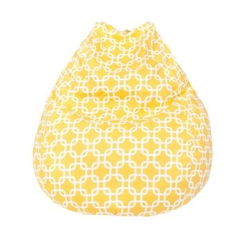 Large Teardrop Gotcha Hatch Print Pattern Bean Bag Natural Yellow