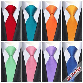 20 Style Solid Mens Neck Ties 8.5cm Silk