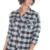 Crisp Air Plaid Rolled Sleeve Button Up Top - Black