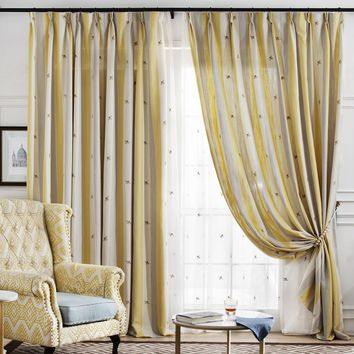 A820 Tri Color (Bright yellow/Cream/Light grey) with embroidered bees pattern Window Curtain Panel