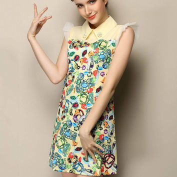 Yellow Floral Pointed Flat Collar Ruffled Sleeve A-line Mini Dress