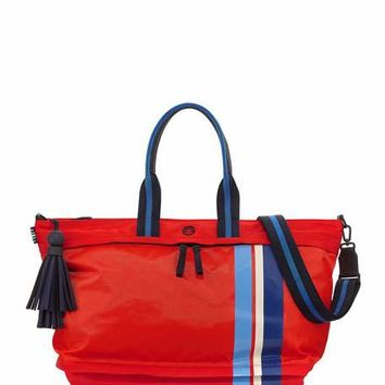 Tory Sport Nylon East-West Zip Gym Satchel Bag, Red