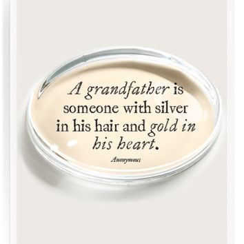 A Grandfather Is Someone With Silver Crystal Oval Paperweight