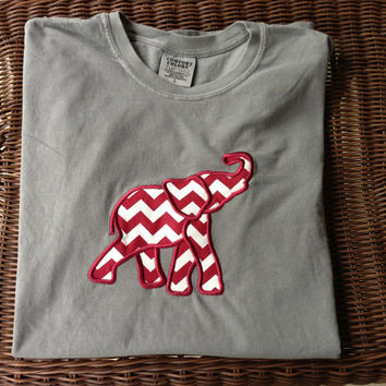 Alabama Crimson Tide Appliqued Elephant Tshirt (Comfort Colors)