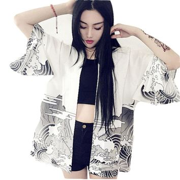 New Fashion Japanese Vintage novelty summer waves printed chiffon sun protection cardigan kimono shirt clothing outerwear BS065