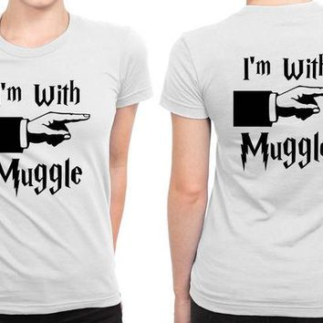 ONETOW Harry Potter I Am With Muggle B 2 Sided Womens T Shirt