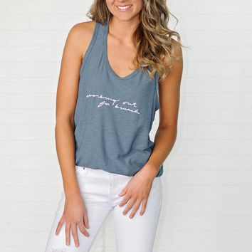 * Working Out For Brunch Tank : Blue
