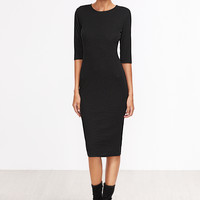 Black Half Sleeve Casual Midi Dress -SheIn(Sheinside)