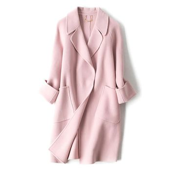 Nanaco 2017 Winter Mid-long 100% Wool Outerwear Women Pink Coat