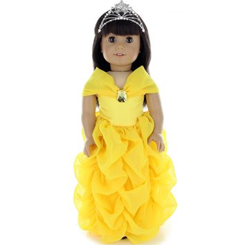 Doll Clothes Fits American Girl & Other 18 Inch Dolls Princess Yellow Dress