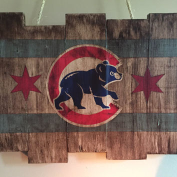 Chicago Cubs Small Wooden Stained Flag; Handpainted; Chicago Flag; Baseball Decor; Mancave; Wrigley Field; Wood Sign; Wood Wall Art; Cubbies