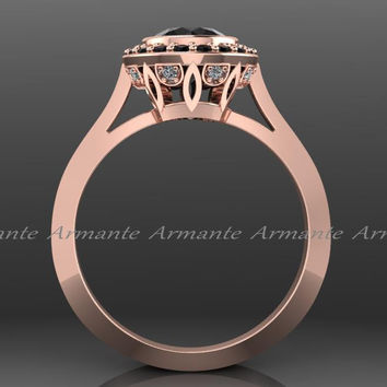 Black Diamond Vintage Engagement Ring, Rose Gold Vintage Style Natural Black Diamond Engagement Ring 14k Rose Gold Wedding Ring Re0004rbk