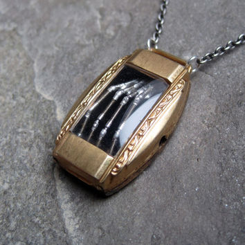 """Skeleton Hand Pendant """"Time Capsule"""" Reliquary Robotic Hand Necklace Watch Stem Shadow Box Sculpture in Watch Case A Mechanical Mind Relic"""