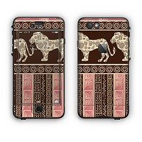 The Aztec Pink & Brown Lion Pattern Apple iPhone 6 LifeProof Nuud Case Skin Set