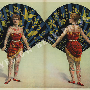 Vintage Tattooed Woman with Ornate Fan Poster Print