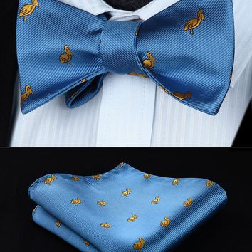 BGA03BS Animal Pattern Light Blue Wedding Bowtie Men Silk  Self Bow Tie handkerchief set
