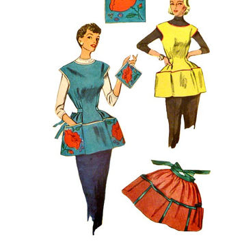 50s Cobbler Apron Pattern Simple to Make Applique Embroidery Transfers Half Apron Pot Holders Vintage Simplicity 4492 Sewing Patterns Medium