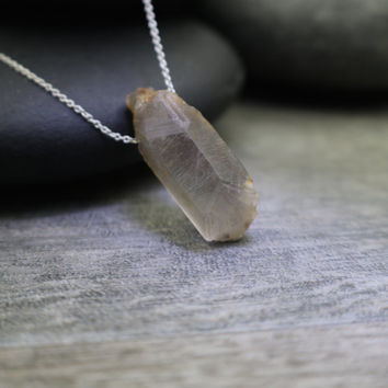Raw Quartz Crystal Pendant Necklace, Sichuan Province, Soft Neutral Grey, Understated Jewelry, Sterling Silver Simple Chain, Grey Moonstone