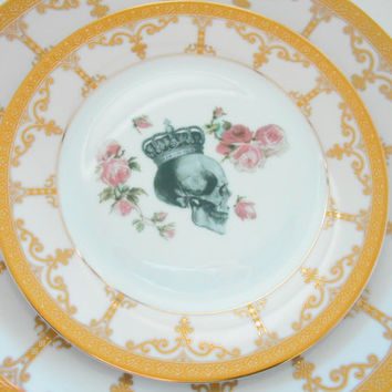 Pink and Gold Floral Roses Flower Skull Dinnerware/Dishes, FOODSAFE, Payments Plans Available