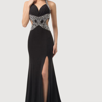 Black Halter Ruched Beaded Cutout Side Slit Maxi Dress