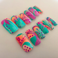 Water marble fake nails rainbow artificial nails glitter false nails rhinestone acrylic nails
