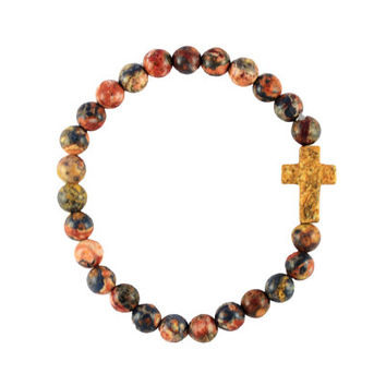 Poppy Jasper Cross Bracelet - Poppy Jasper Gemstone Beads, Picture Jasper Cross, Bohemian Bracelet, Christian Jewelry