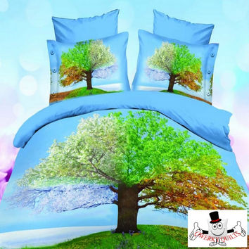Blue Green Tree Bedding Set and Quilt Cover