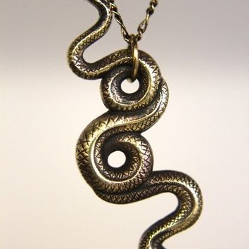 Brass Garden Snake Necklace 091